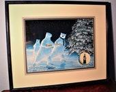 Coca Cola Polar Bear Lithograph Print quot Enchanted Evening quot