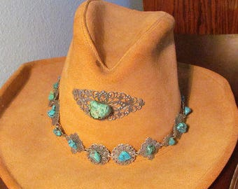 Vintage Silver And Turquoise Band and Center Piece Cowboy Hat 0ce191796156