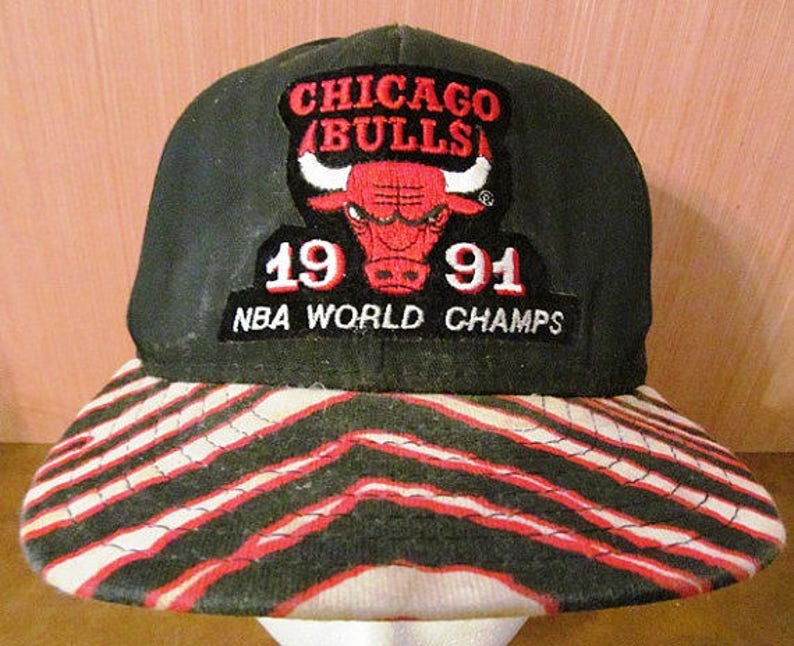 bc786d11411 Vintage Chicago Bulls 1991 World Champs Baseball Cap made by