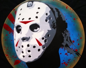 Jason Voorhees Friday the 13th Spray Paint and Stencil Vinyl Record Art
