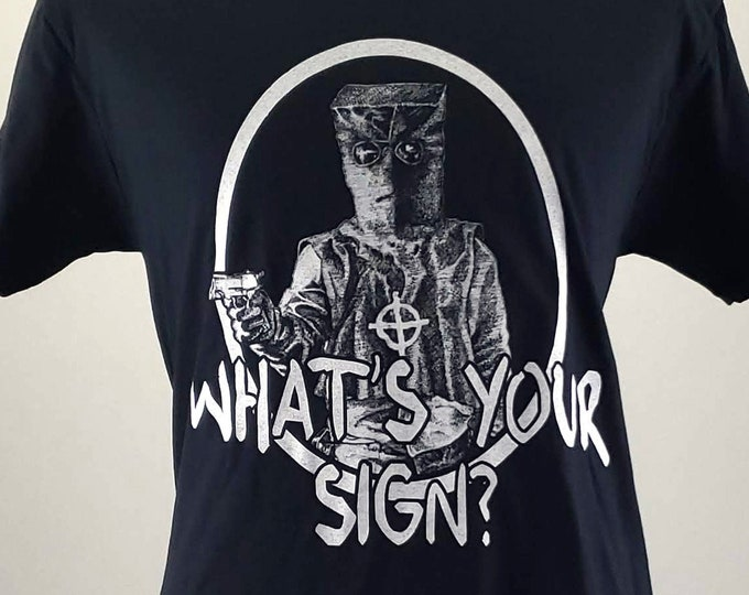 "Featured listing image: Zodiac Killer ""What's Your Sign?"" Serial Killer Shirt, Horror tshirt, Goth tee, screen printed T shirt"
