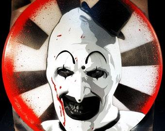 Art the Clown Terrifier Killer Clown Spray Paint and Stencil Artwork on Vinyl Record