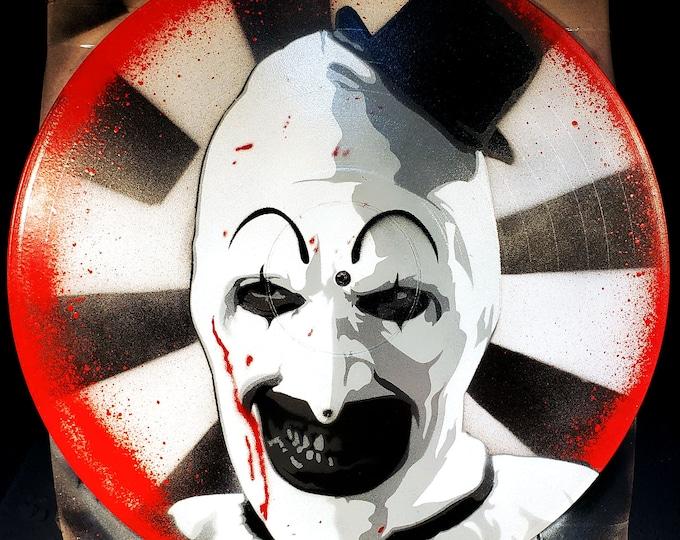 Featured listing image: Art the Clown Terrifier Killer Clown Spray Paint and Stencil Artwork on Vinyl Record