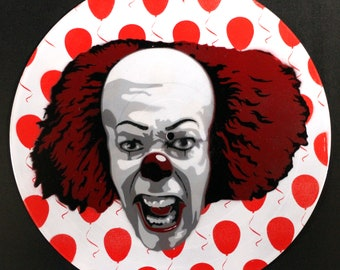 Pennywise the Dancing Clown Stephen King It Spray Paint and Stencil Vinyl Record Art