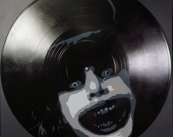 Babadook Spray Paint and Stencil Artwork on Vinyl Record