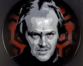 The Shining Jack Torrance, Jack Nicholson Spray Paint and Stencil Vinyl Record Art