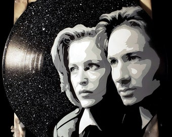 X-Files Mulder and Scully Spray Paint and Stencil Vinyl Record Art