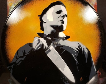 Michael Myers Halloween spray paint and stencil artwork on Vinyl Record