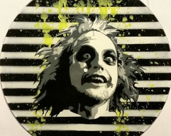Beetlejuice Tim Burton Spray Paint and Stencil Vinyl Record Art