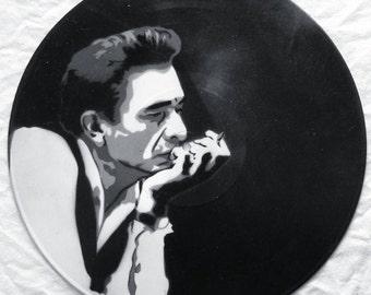 Johnny Cash Smoking Spray Paint and Stencil Vinyl Record Art