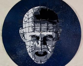Pinhead Hellraiser Spray Paint and Stencil Vinyl Record Art