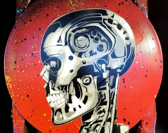 Terminator T-800 Endoskeleton Arnold Schwarzenegger Spray Paint and Stencil Artwork