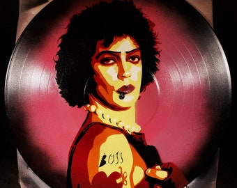 Frank-N-Furter Rocky Horror Picture Show Tim Curry Spray Paint and Stencil Art on Vinyl Record