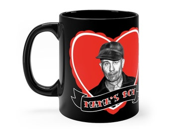 "Ed Gein ""Mama's Boy"" Black mug 11oz , Serial Killer Coffee Cup, Horror Goth Coffee Mug"