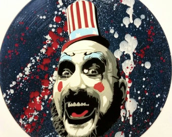 Captain Spaulding House of 1000 Corpses Spray Paint and Stencil Vinyl Record Art