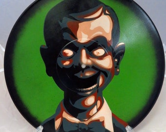Slappy Goosebumps, Night of the Living Dummy, Spray Paint and Stencil Vinyl Record Art