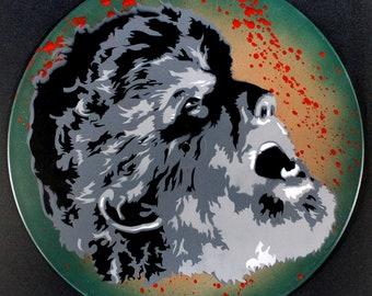 Wolfman Spray Paint and Stencil Vinyl Record Art