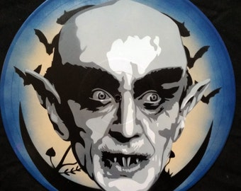 Nosferatu Graf Orlok Max Schreck Spray Paint and Stencil Vinyl Record Art