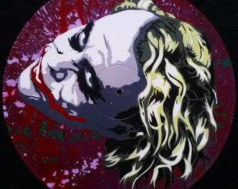 Joker Heath Leger Spray Paint and Stencil Vinyl Record Art