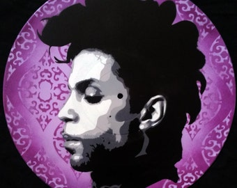 Prince Purple Rain Spray Paint and Stencil Vinyl Record Art