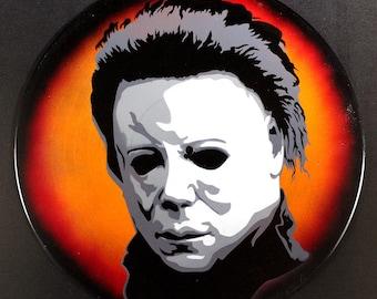 Michael Myers Halloween Spray Paint and Stencil Vinyl Record Art
