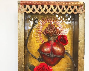 Sacred Heart, Mixed Media Assemblage Sculpture