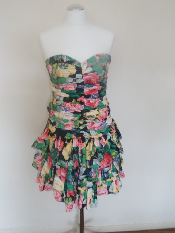 1980s Ruffle floral party dress