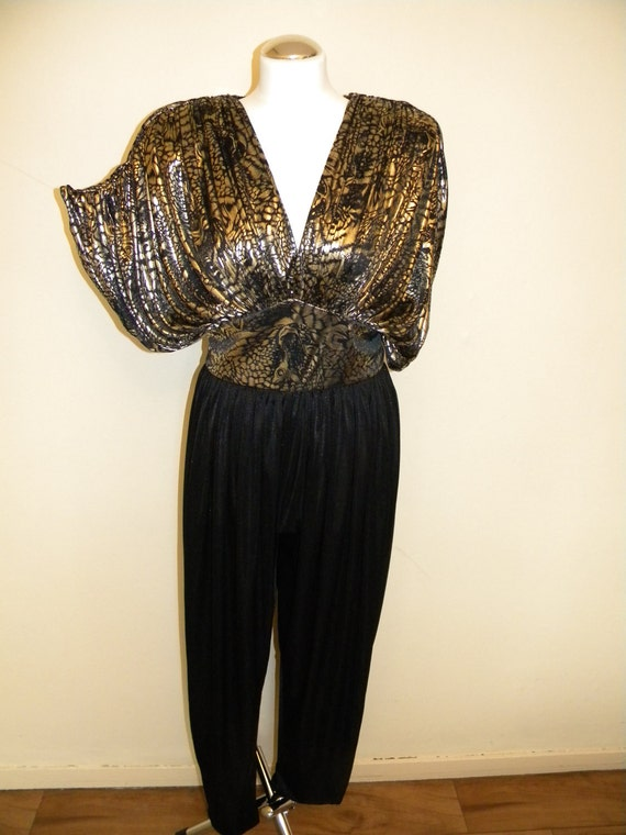 Gold and Black 80's polyester Jumpsuit