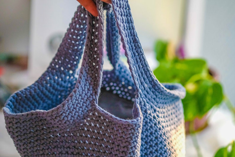 sturdy tubular yarn other colors /& styles available Chunky Crochet Tote in Steel Blue made with stretchy