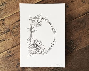 Letter D - Dahlia - Hand drawn Illustrated Flower Alphabet - Limited Edition Riso Print on Recycled Paper with Recycled Ink