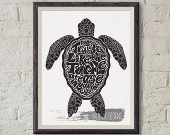 Try to be Like the Turtle at Ease in your own Shell Print Digital Art Wall Decor