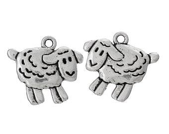 BULK 50 Sheep charms antique gold tone GC308