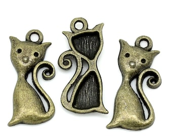 10 Pieces Bronze Cat Charms