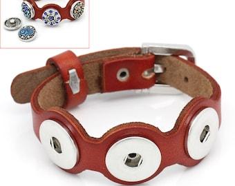 1 piece Orange-Red Leather Chunk Button Buckle Bracelet