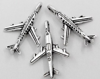 10 Pieces Antique Silver Airplane Charms