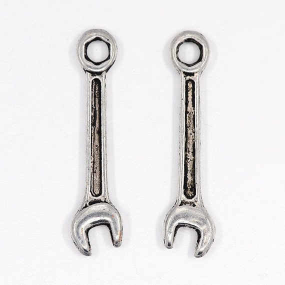50 Silver Tone Wrench Charm Pendants 24x6mm
