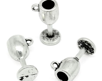 10 Pieces Antique Silver Goblet Charms