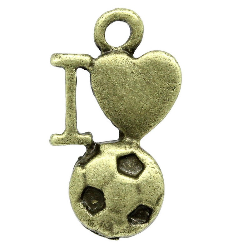 10 Pieces Antique Bronze I Love Soccer Charms