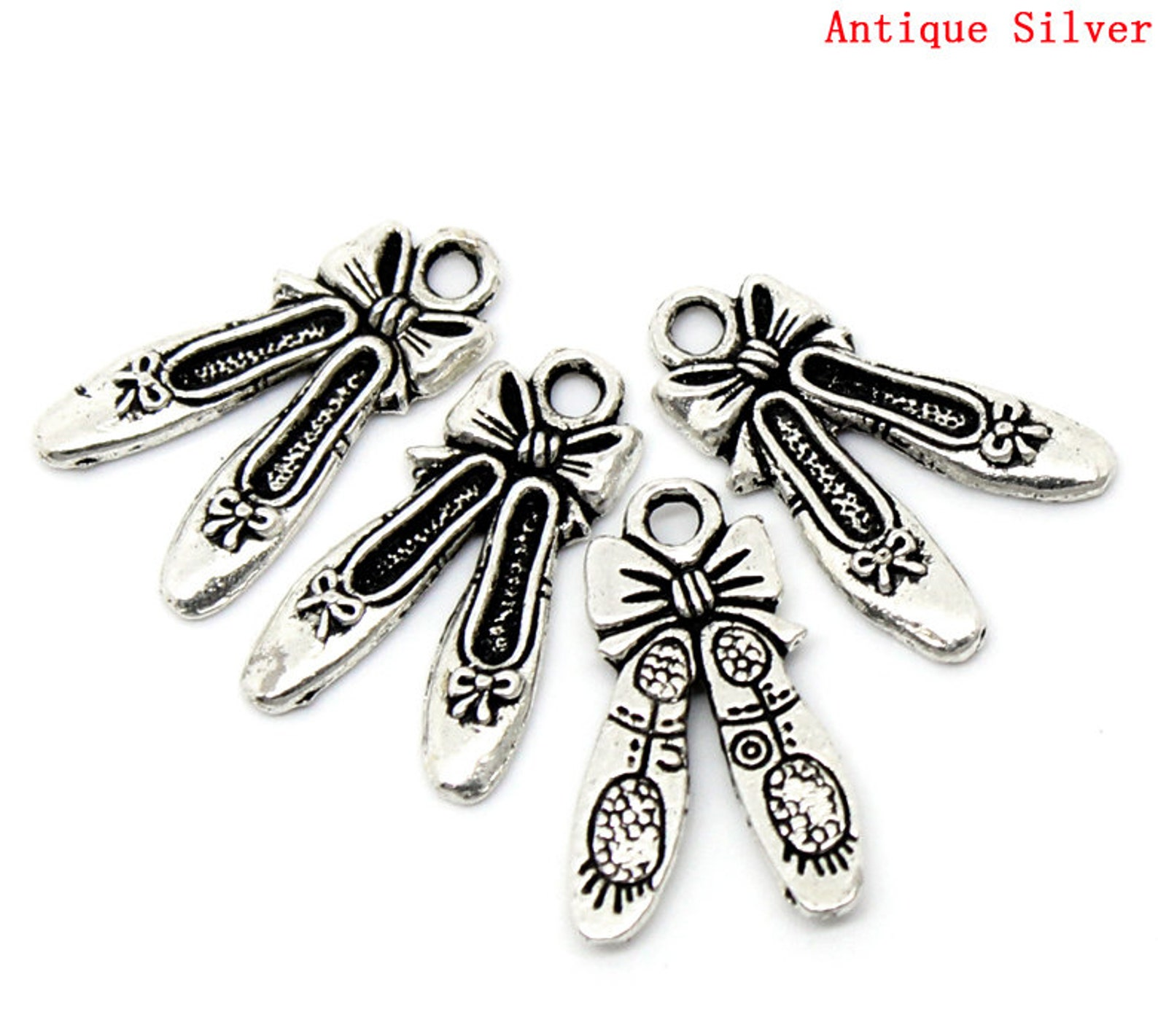 5 pieces antique silver ballet shoes charms