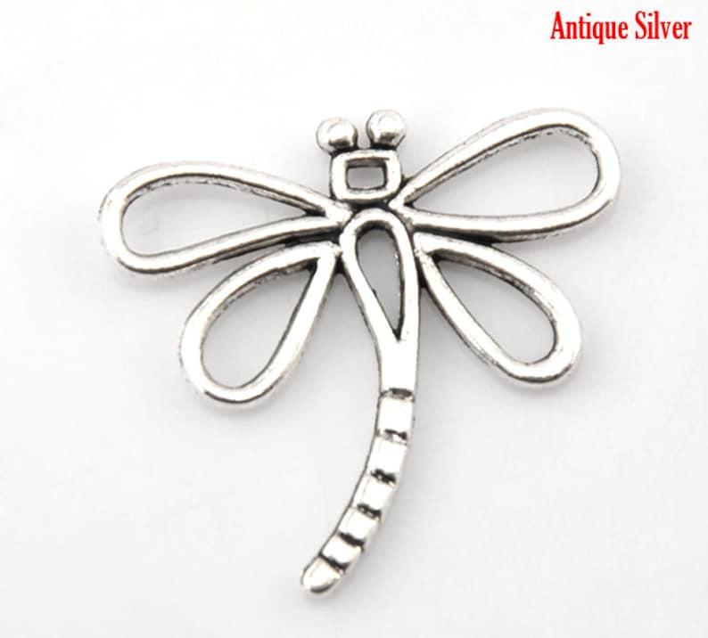 10 Pieces Antique Silver Dragonfly Charm Pendants