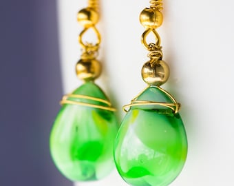 Green Teardrop Drop Earrings
