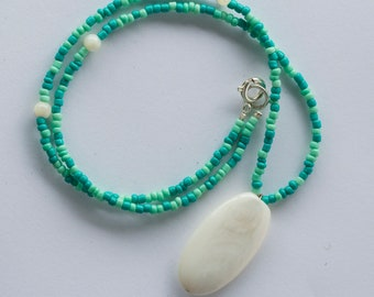 Blue Green Shell Pendant Necklace