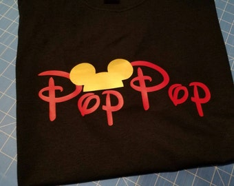 Custom name Mouse silhouette Tshirt (Pop Pop,Nana, etc), black with red and gold
