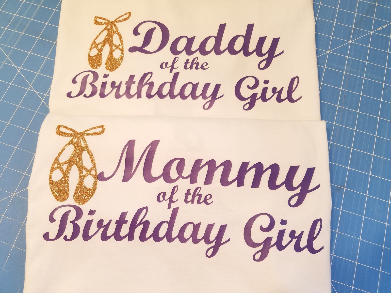 ballet mommy daddy of the birthday girl tshirt set, ballerina birthday shirts, white unisex shirts with purple and glitter balle