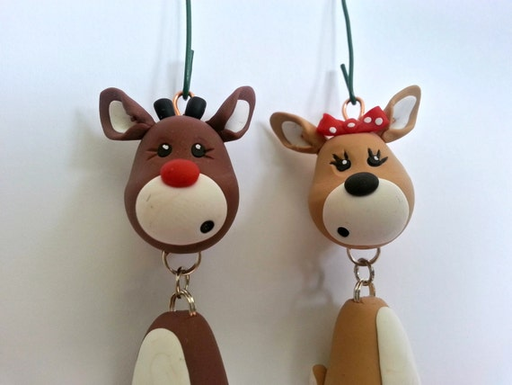 image 0 - Reindeer Ornament Set Handmade Polymer Clay Ornaments Etsy