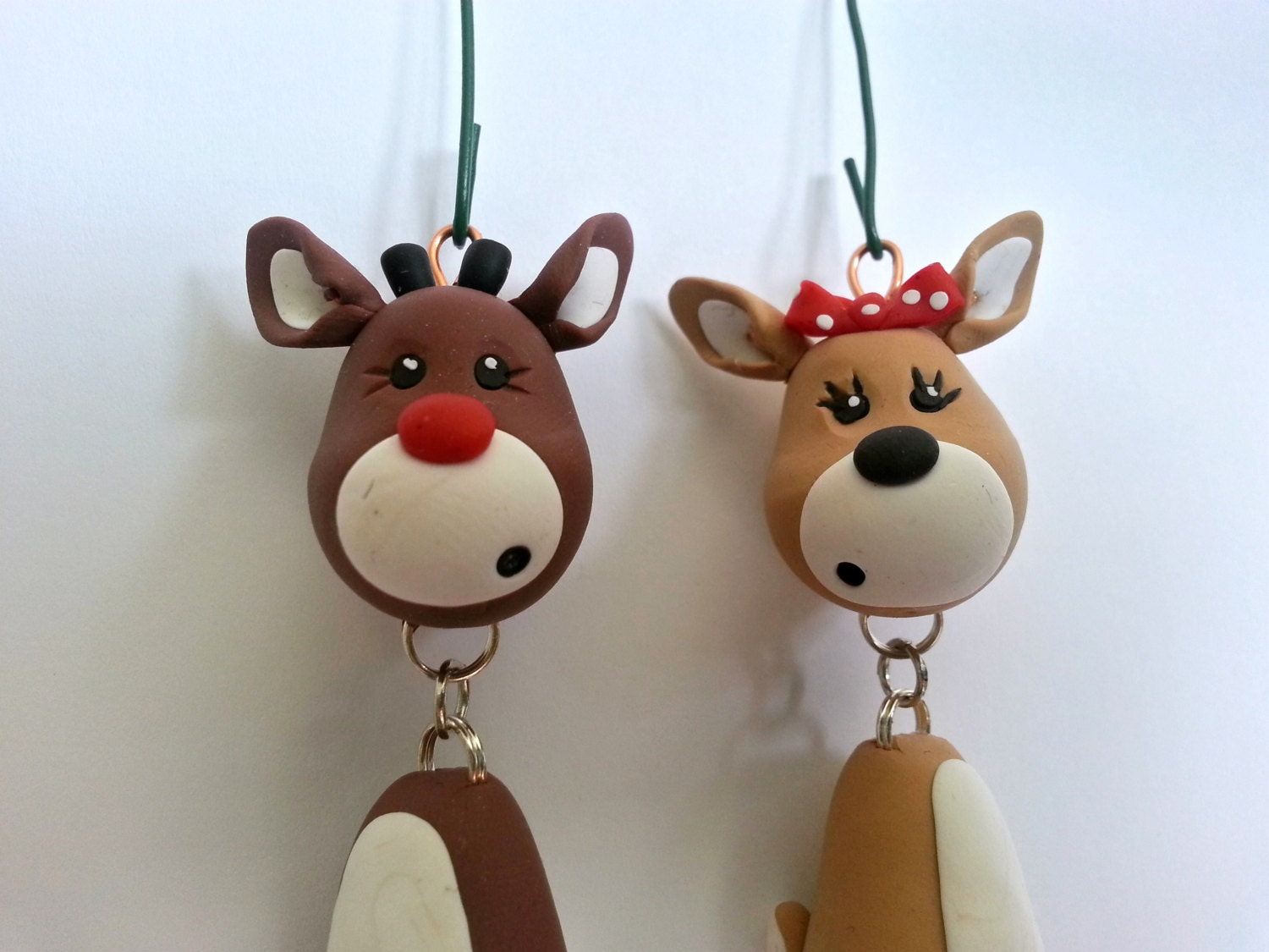 Reindeer Ornament Set Handmade Polymer Clay Ornaments Christmas Keepsakes Christmas Reindeer Figurines Stocking Stuffers Holiday Gifts