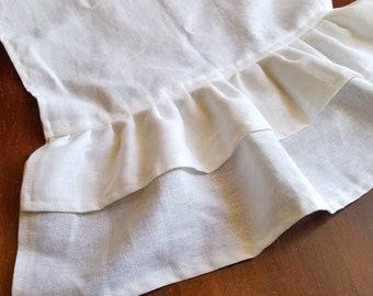 White Linen Table Runner with Double Linen Ruffles - Various Sizes