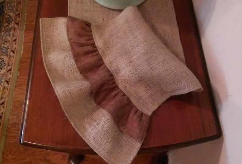 Natural Burlap Table Runner with Brown Ruffles Various Lengths