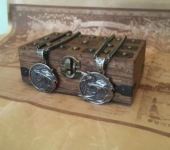 Witcher inspired Wooden Treasure box with  premium SS Medallion