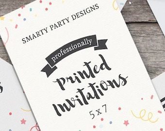 Professionally Printed Invitations with White Envelopes - Smarty Party Designs
